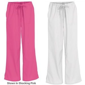 2 pair or scrub pants one pink one white